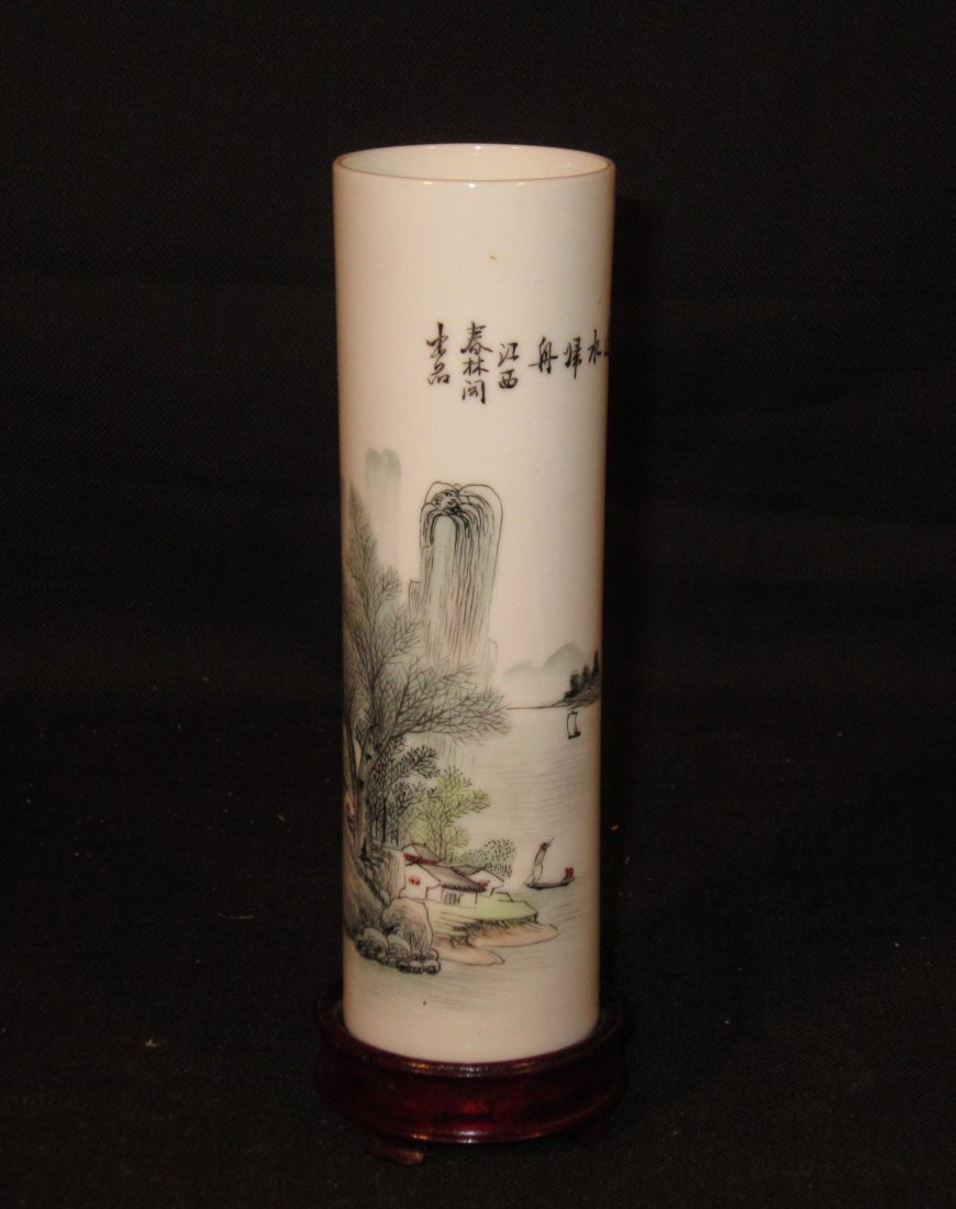 A Small Fine Chinese Porcelain Cylinder Flower Vase