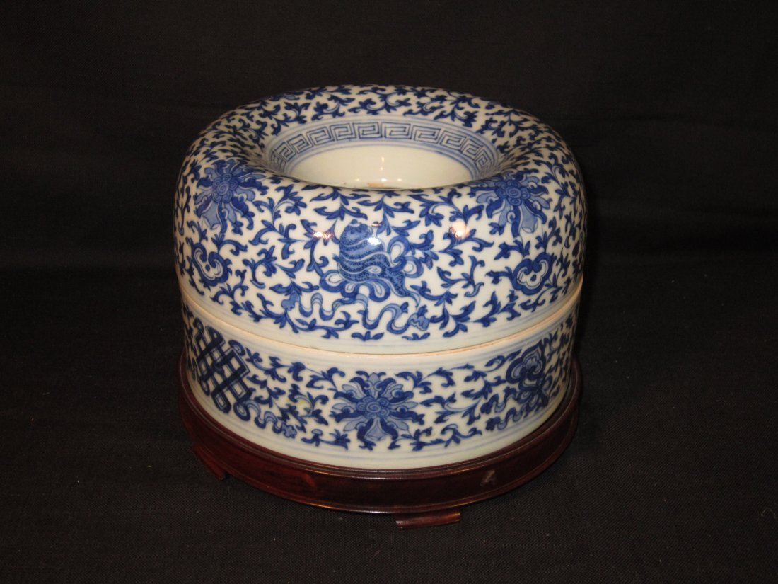 Unusual Chinese Blue and White Jardiniere and Cover