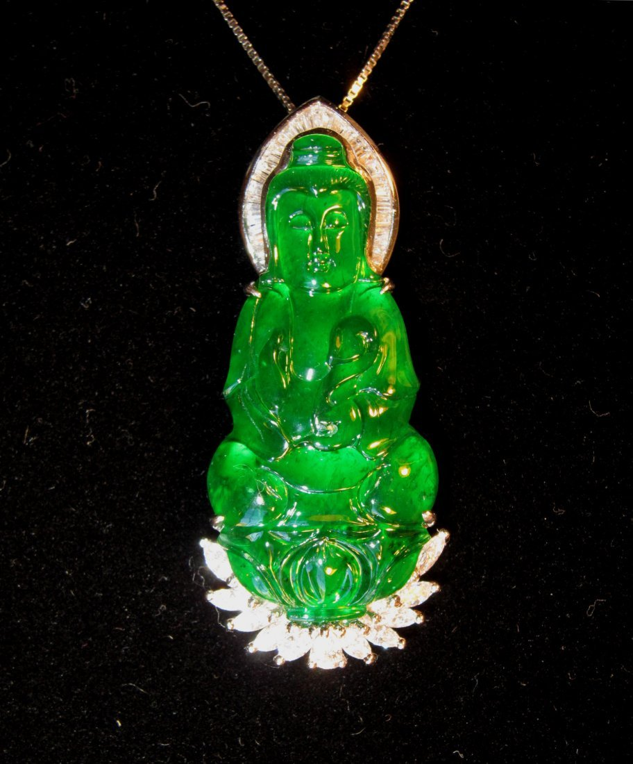 A Superb Chinese Imperial Jadeite Quanyin Pendant
