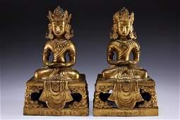 Pair of Chinese Qianlong Gilt Bronze Figures of Buddha