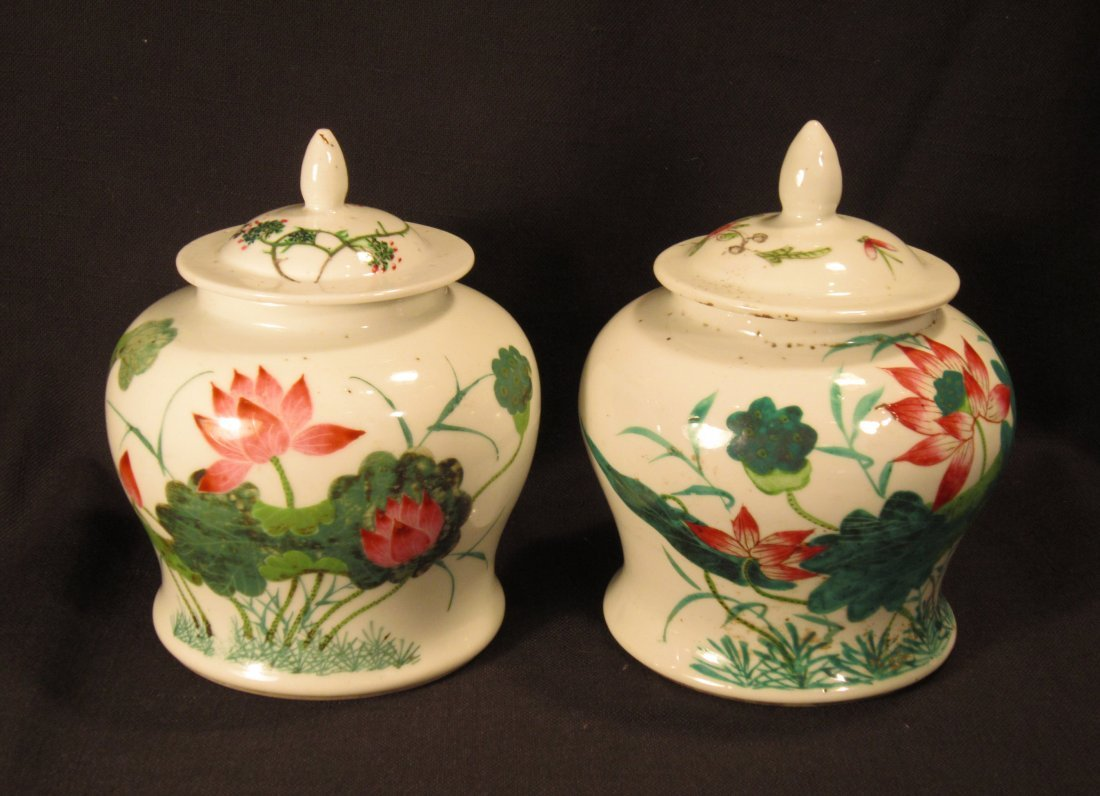 Two Chinese Famille Rose Porcelain Jars and Cover