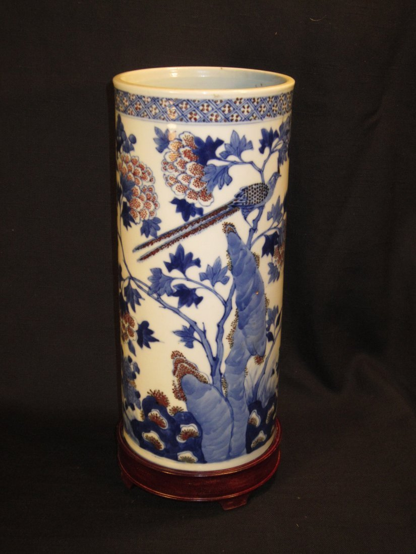 A Chinese Blue and Underglazed Red Cylinder Vase