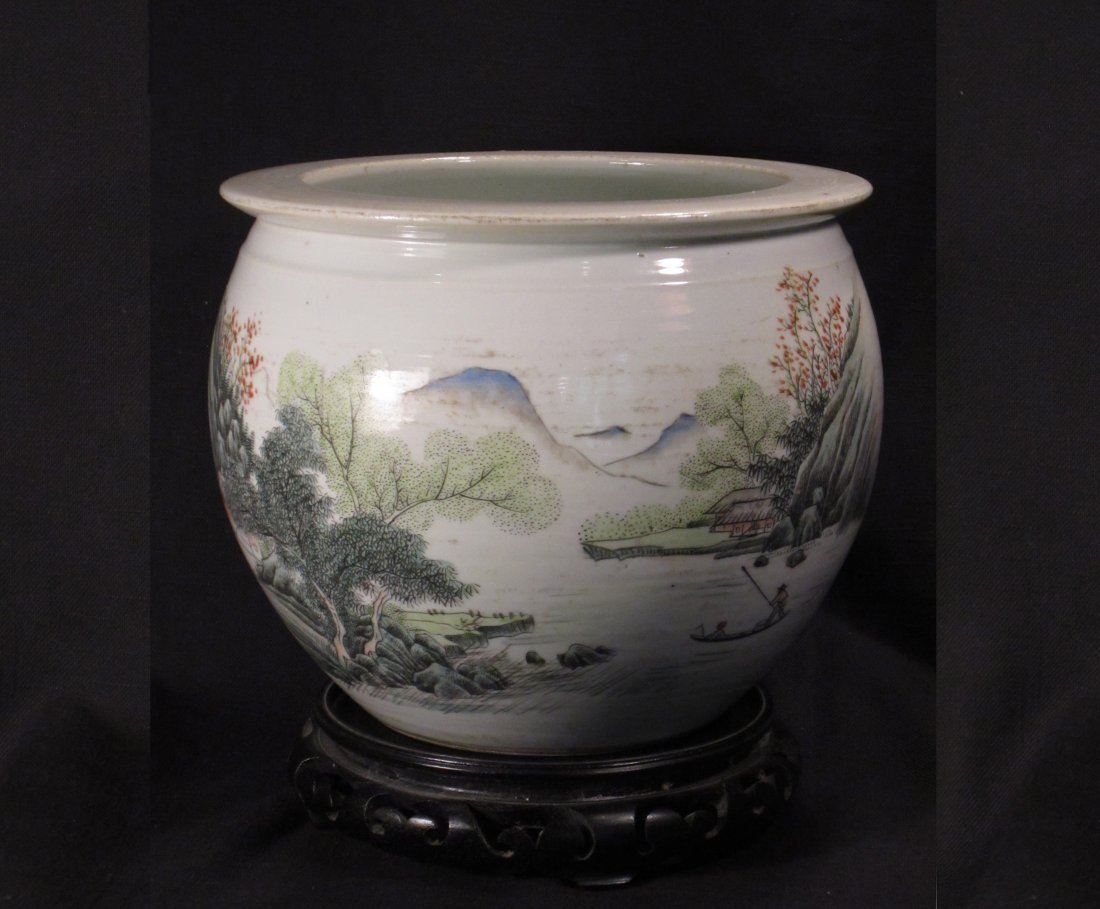 A Very Fine Chinese Light Famille Rose Fish Bowl