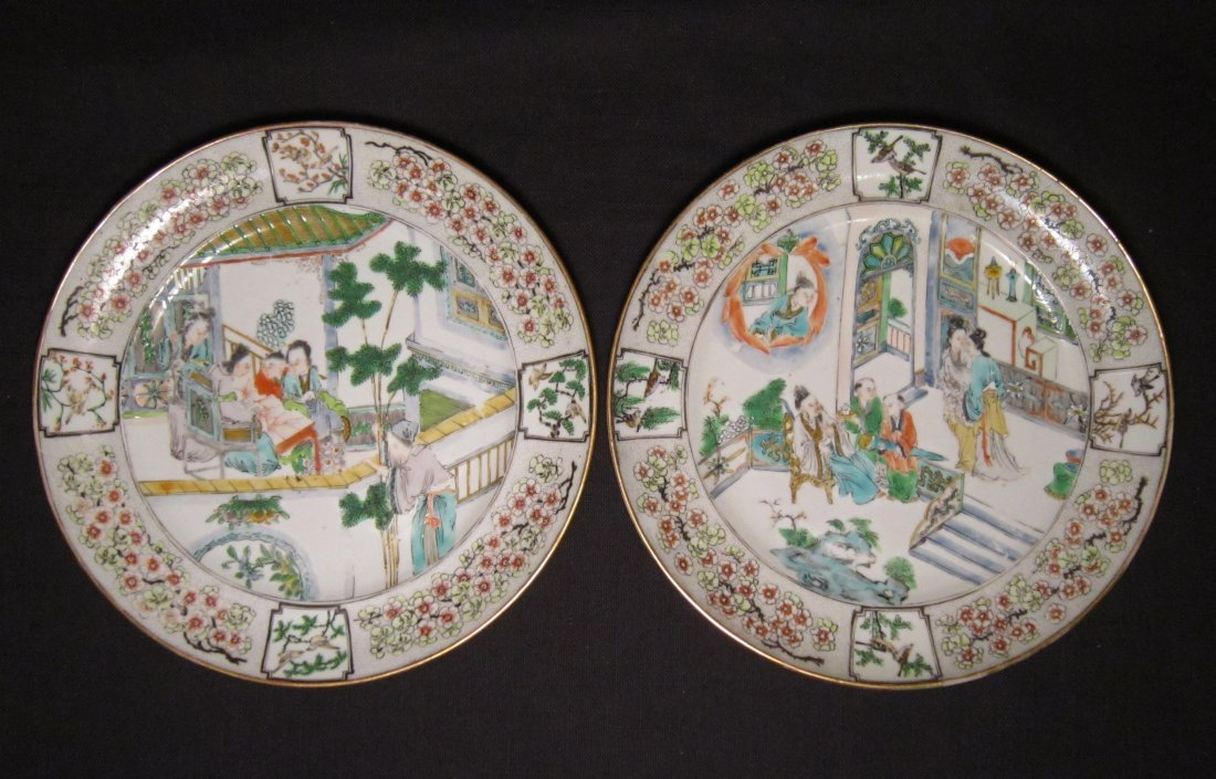 A Pair of Chinese Famille Rose Glazed Plates