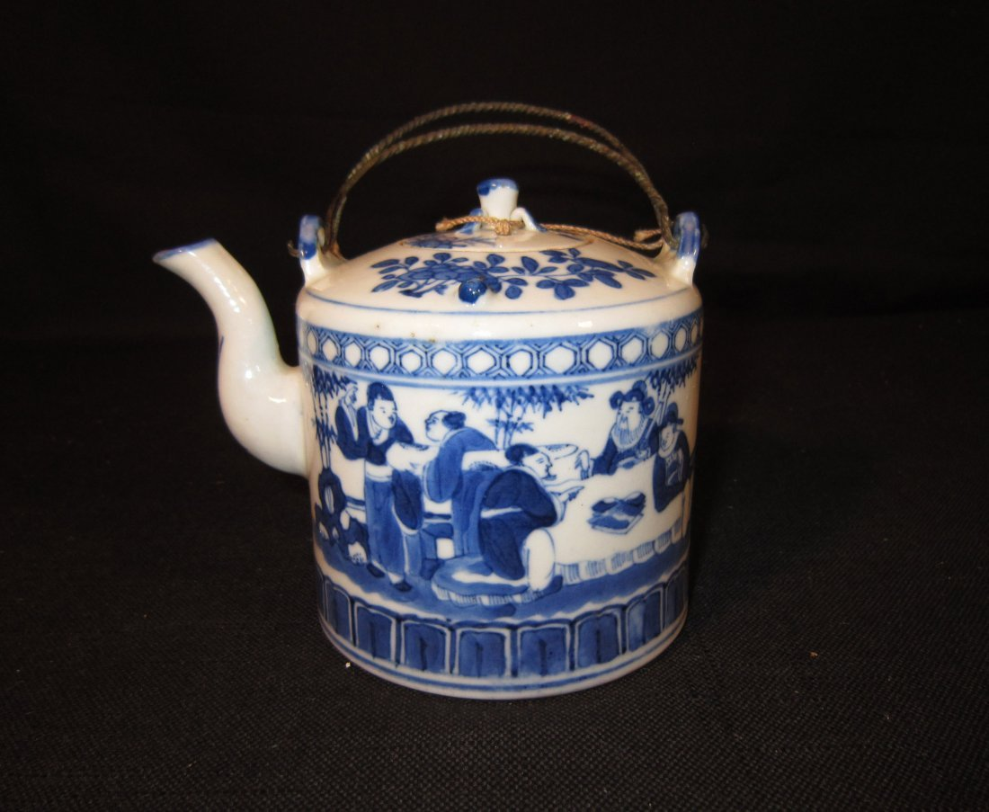 A Very Fine Chinese Blue and White Figural Teapot