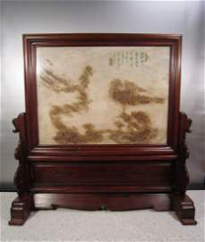 A Fabulous Chinese Marble Table Screen In Huanghuali