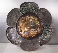 A Superb Japanese Large Silver Plate with  Shibayama