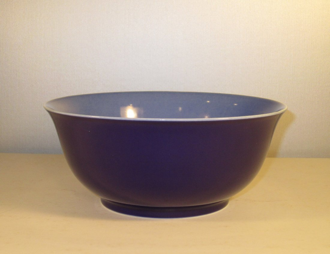A Large Chinese Export  Blue Glazed Bowl