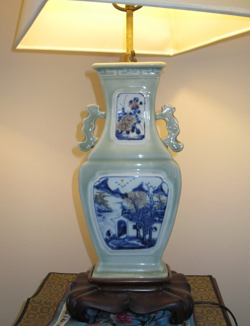 A Chinese Blue and Underglazed-Red Vase Lamp