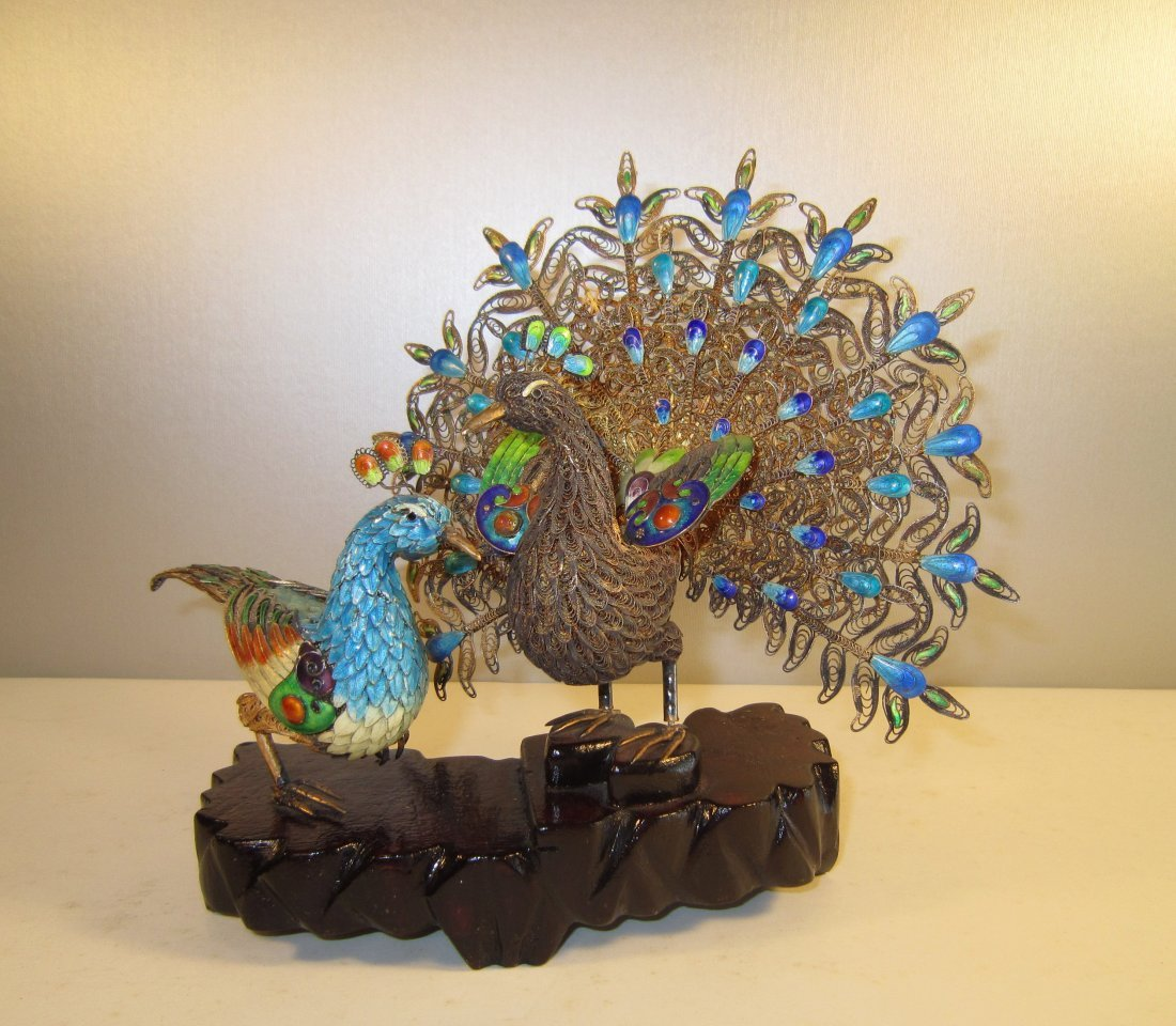 Two Chinese Gilt Enameled Silver Peacocks (Fenghuang)
