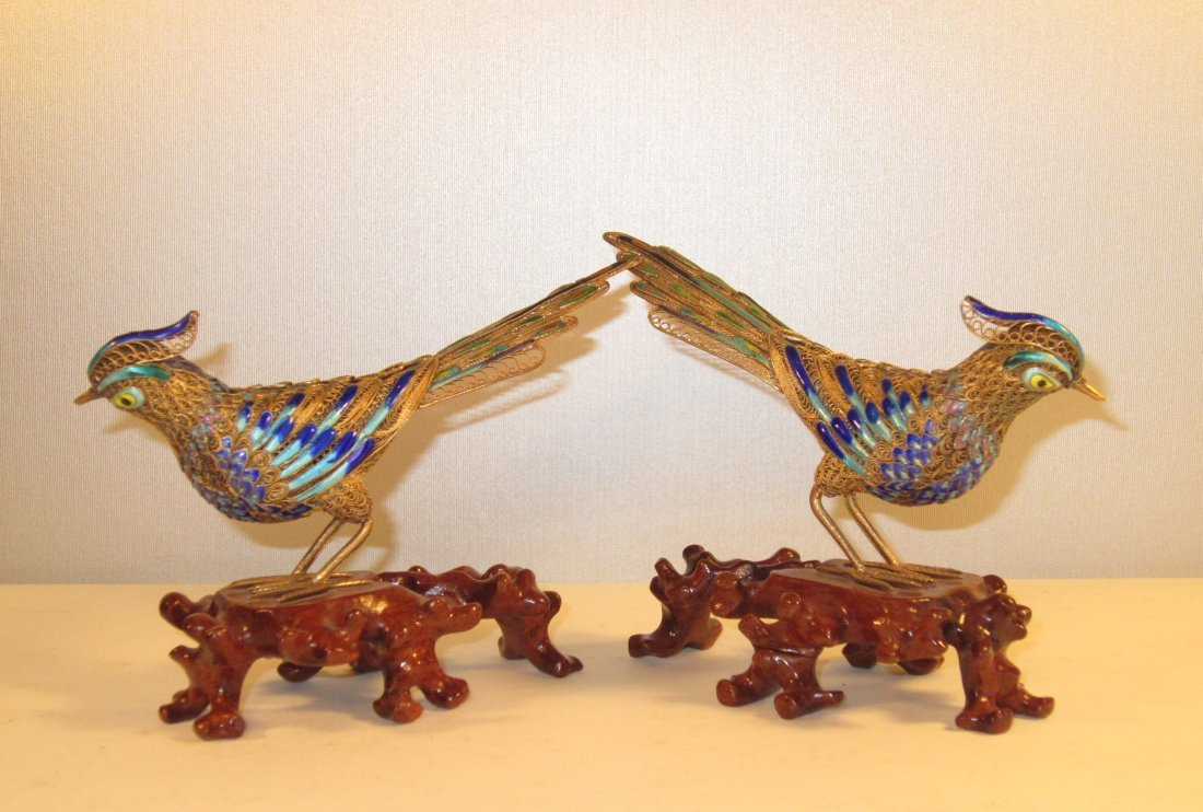 A Pair of Gilded and Enameled Filigree Silver Birds