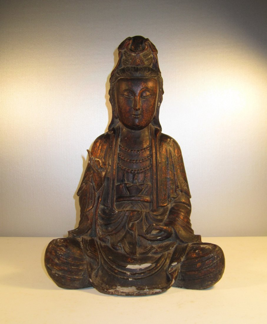 A Fine Chinese Lacquered Wood Guanyin Stature