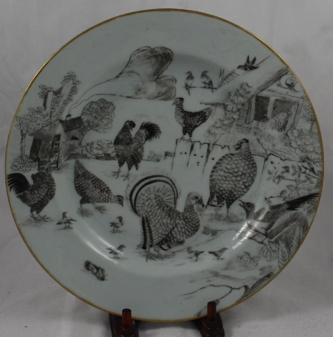 A RARE CHINESE EXPORT PORCELAIN GRASILLE PLATE WITH