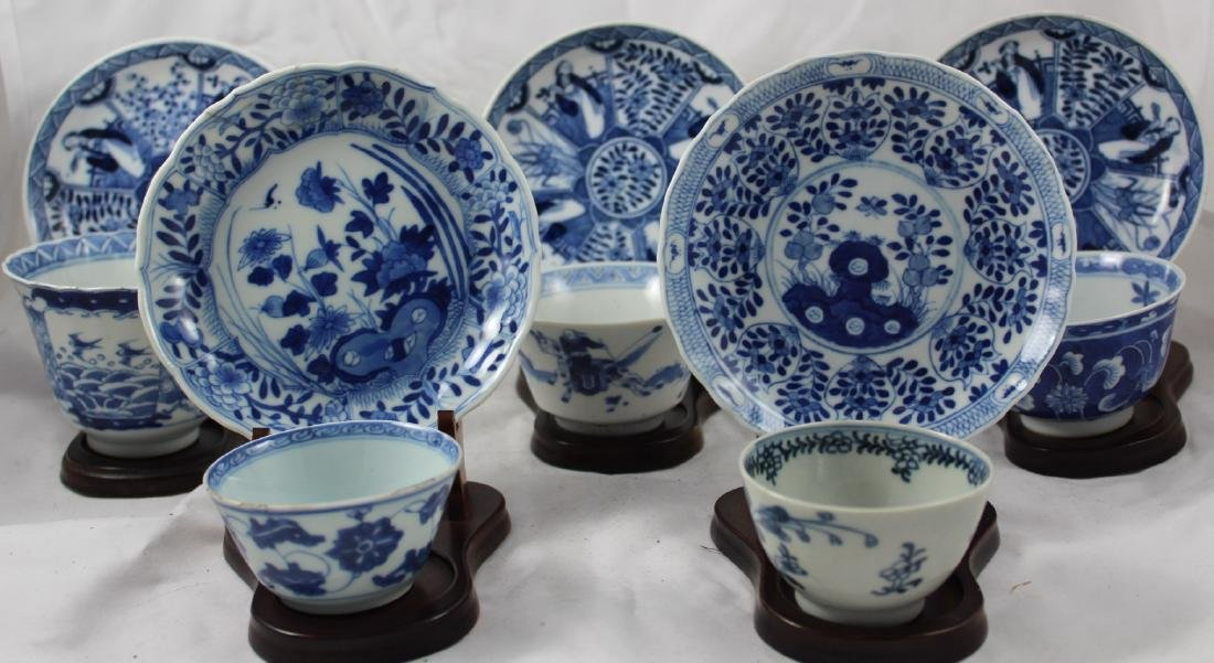 GROUP OF TEN CHINESE EXPORT BLUE AND WHITE CUPS AND