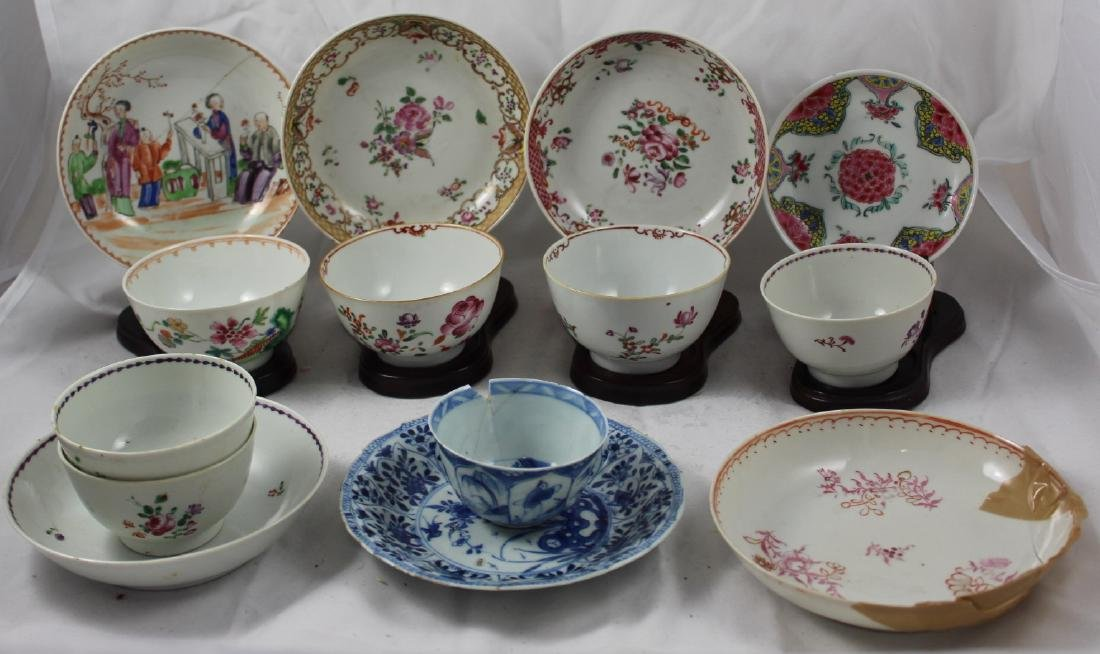GROUP OF FORTEEN CHINESE PORCELAIN CUPS AND SAUCERS