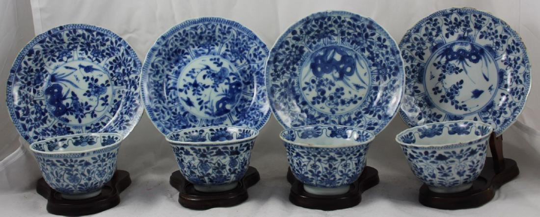 SET OF EIGHT CHINESE BLUE AND WHITE PORCELAIN CUPS AND