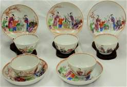 Ten Chinese famille rose cups and saucers (10X)