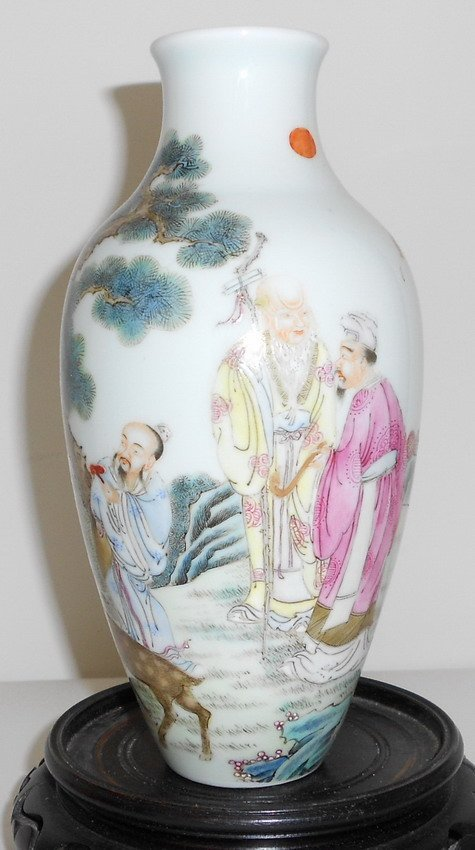 1013: Chinese famille rose '3 immortal and kid' vase,