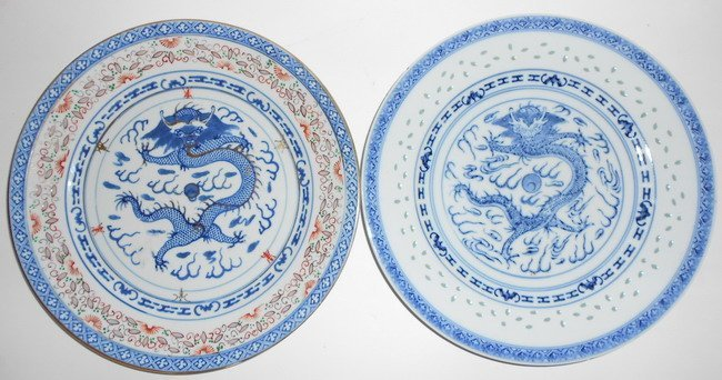 1024: Two Chinese blue and white dragon plates.