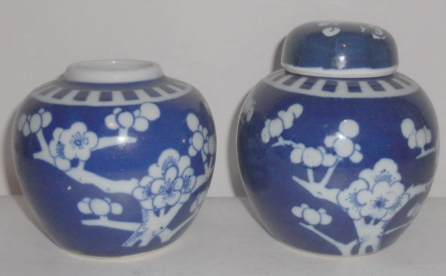 1002: Two Chinese blue and white ginger jars