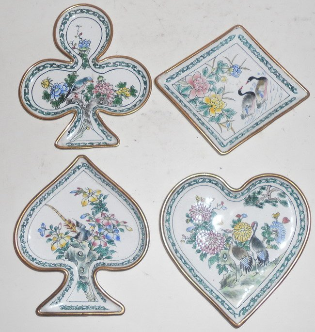1005: A set of four Chinese cloisonne pieces.