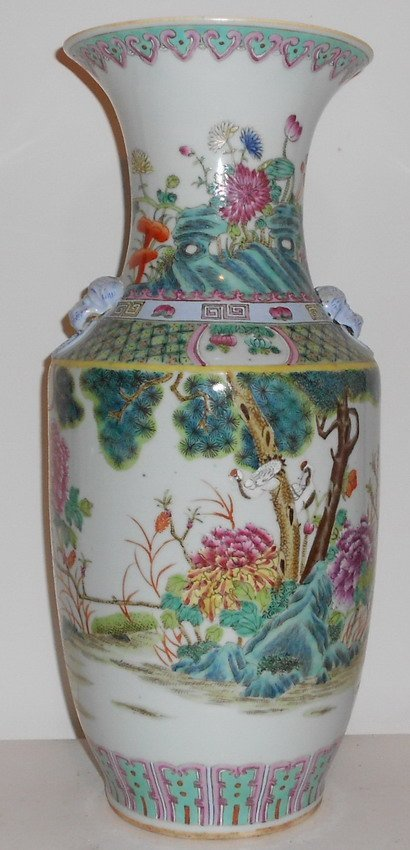 1013: A large chinese famille rose vase.