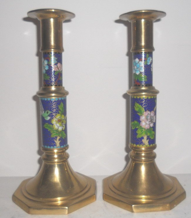 1015: A pair of Chinese export cloisonne candle sticks.