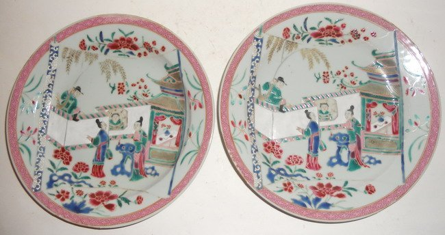 1023: A pair of Chinese export famille rose plates.