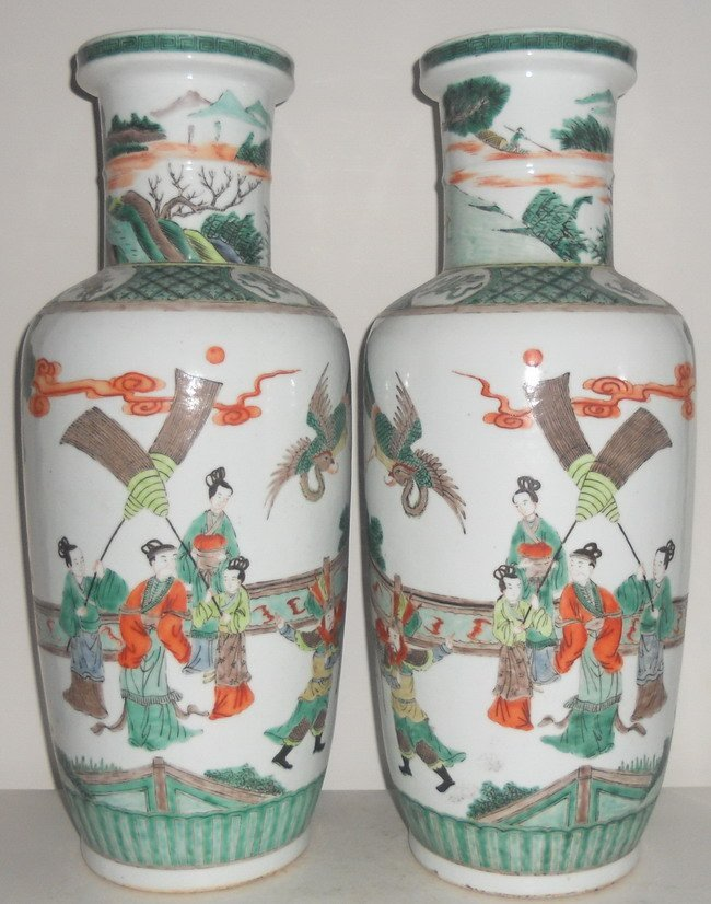 1127: A pair of Chinese famille verte vases.