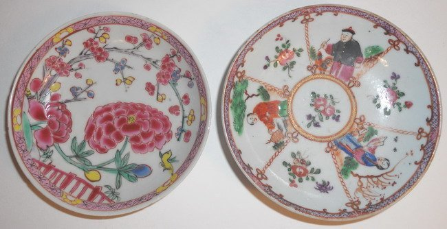 A pair of Chinese export famille rose saucer plates. (2