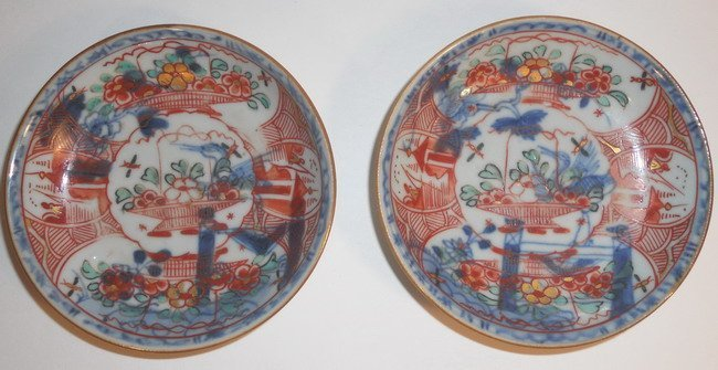 A pair of Chinese export famille verte  saucers.(2X)