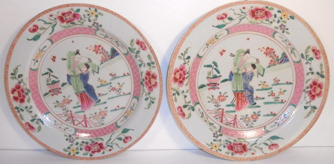 A pair of Chinese export famille rose plates.(2x)