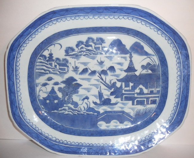 A Chinese export blue and white platter.