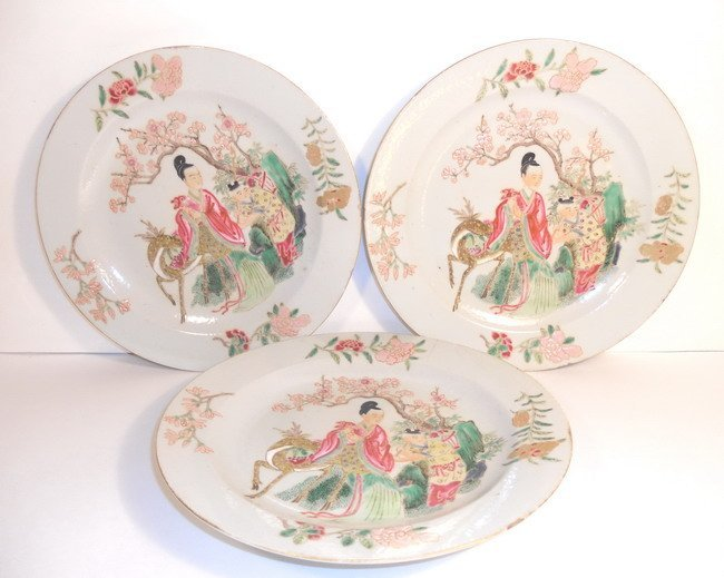 Three Chinese export famille rose plates.(3x)