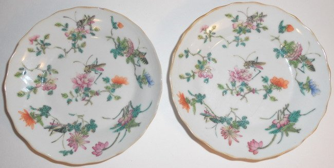 Two Chinese famille rose saucer dishes.(2x)