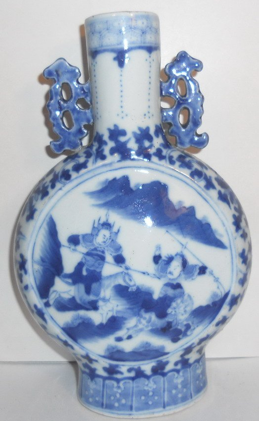 A Chinese blue and white moonflask.