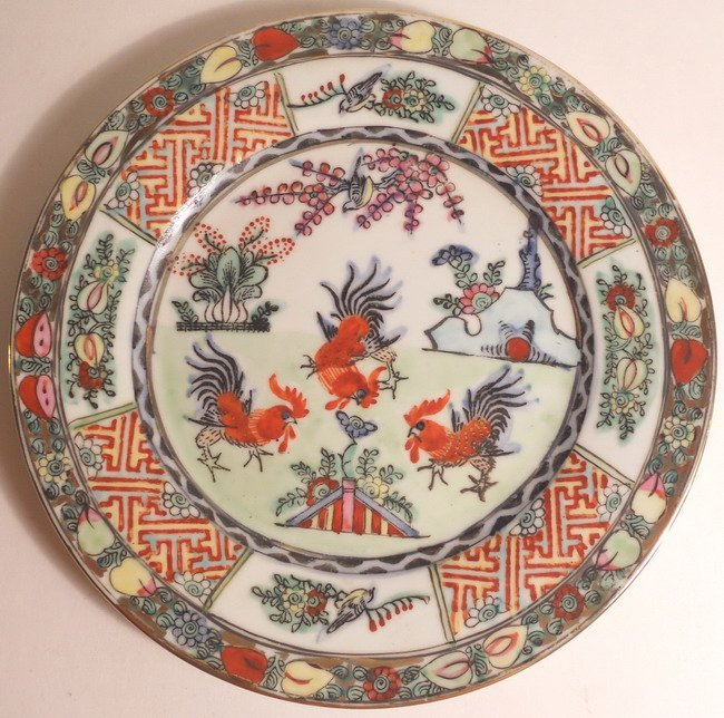 A Canton 'rooster' plate.