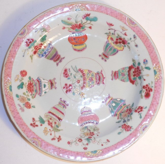 A Chinese export famille rose plate.
