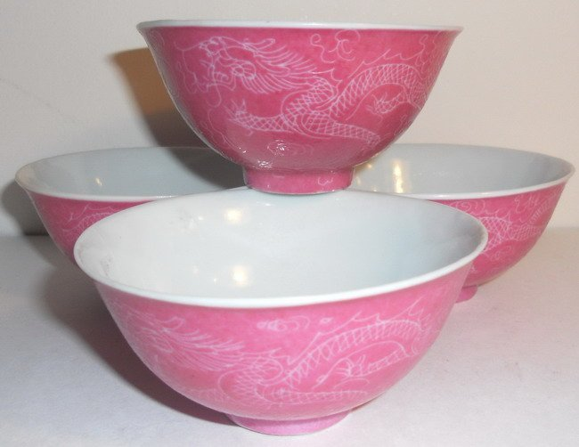 A set of four (4x) Chinese pink sgraffito bowls.