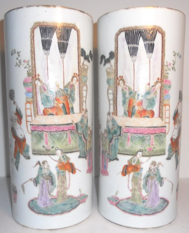A pair of Chinese famille rose hat stands.