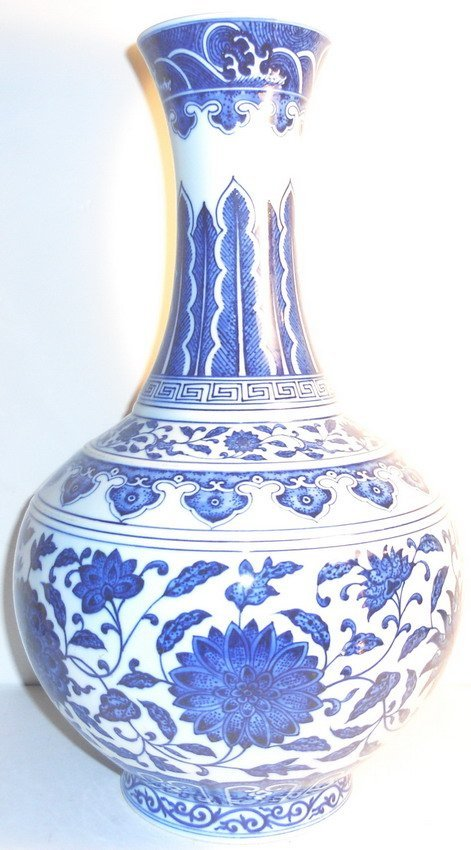 A large Chinese blue and white vase.