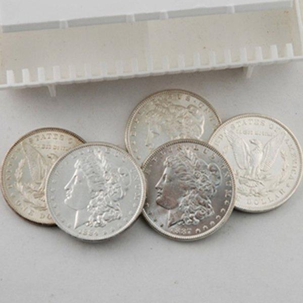 (5) BU Morgan Silver Dollars