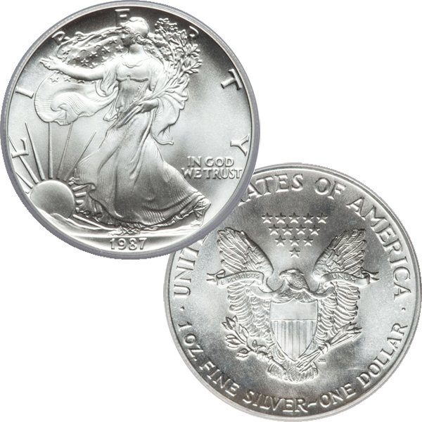 1987 1 Oz BU Silver American Eagle - Early Date!