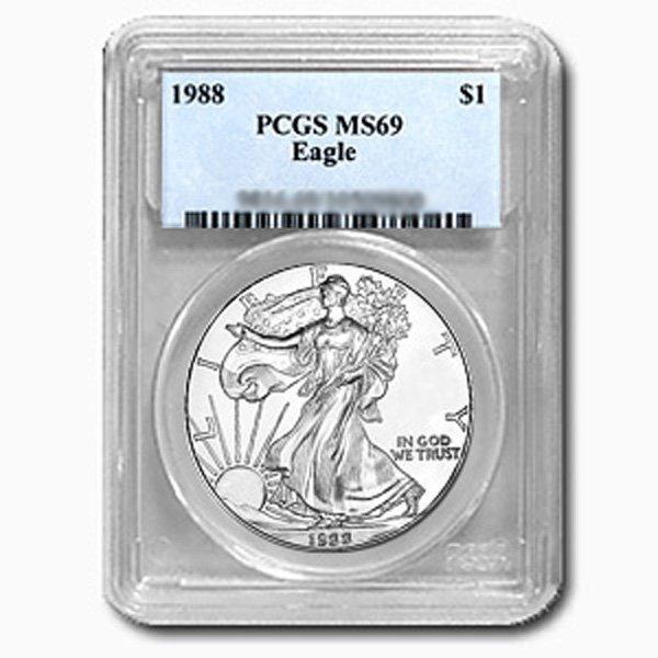 1988 1 Oz Silver Eagle PCGS MS-69