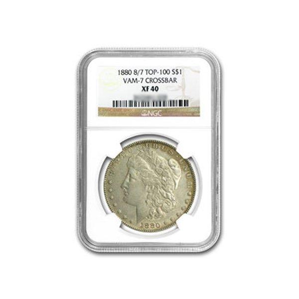 1880 Morgan Dollar NGC XF-40 8/7 VAM-7 Crossbar
