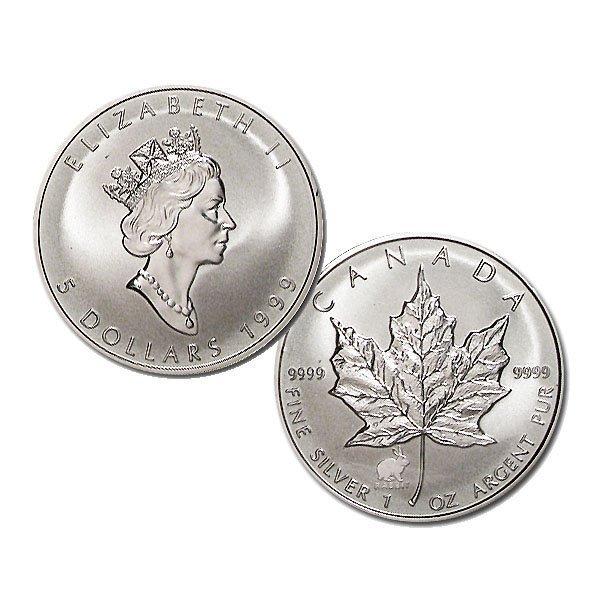 1999 1 Oz BU Silver Maple Leaf Year of the Rabbit Privy