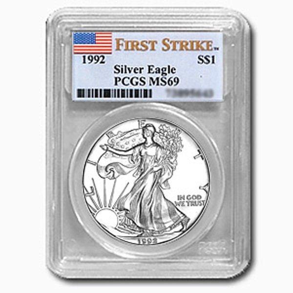 1992 1 Oz Silver Eagle PCGS MS-69 (FS)