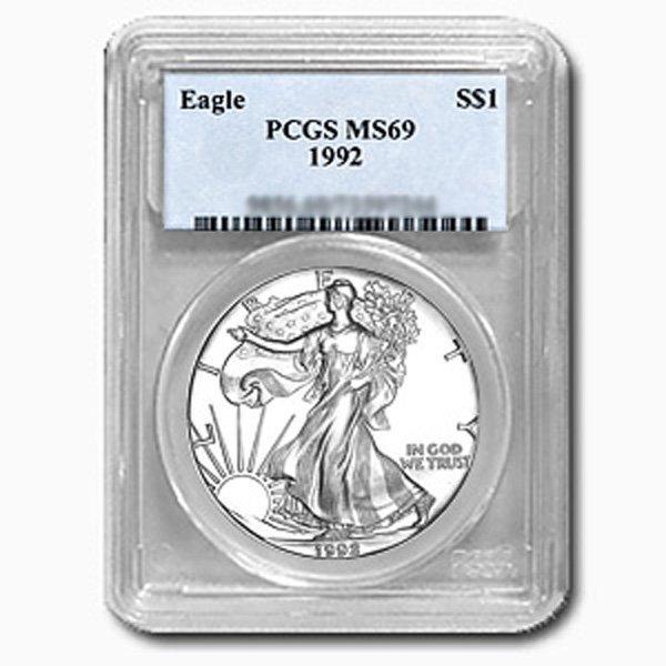 1992 1 Oz Silver Eagle PCGS MS-69