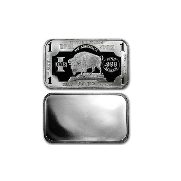1 Oz Buffalo Design Silver Bar .999 Fine
