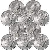 (10) BU Peace Silver Dollars